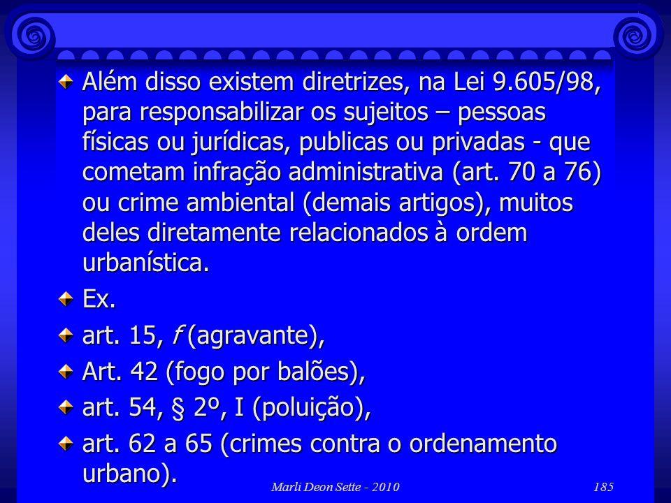 art. 62 a 65 (crimes contra o ordenamento urbano).