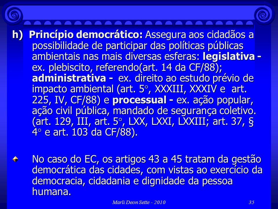 h) Princípio democrático: Assegura aos cidadãos a possibilidade de participar das políticas públicas ambientais nas mais diversas esferas: legislativa - ex. plebiscito, referendo(art. 14 da CF/88); administrativa - ex. direito ao estudo prévio de impacto ambiental (art. 5°, XXXIII, XXXIV e art. 225, IV, CF/88) e processual - ex. ação popular, ação civil pública, mandado de segurança coletivo. (art. 129, III, art. 5°, LXX, LXXI, LXXIII; art. 37, § 4° e art. 103 da CF/88).