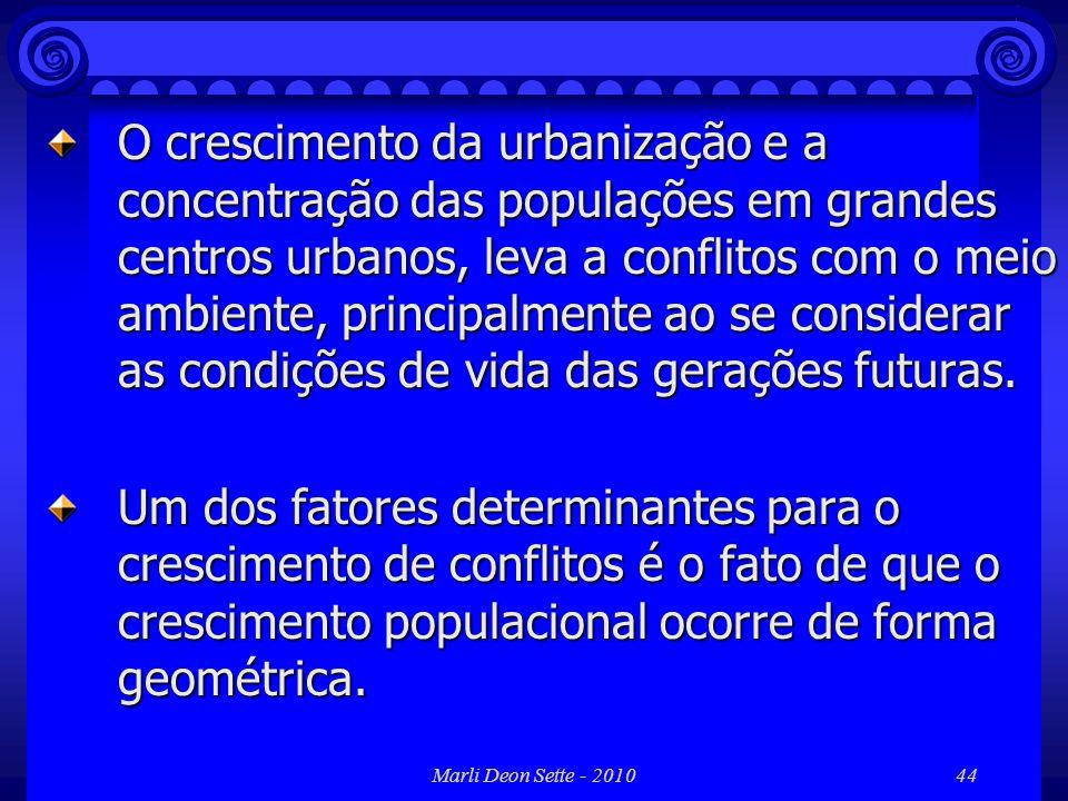 O crescimento da urbanização e a concentração das populações em grandes centros urbanos, leva a conflitos com o meio ambiente, principalmente ao se considerar as condições de vida das gerações futuras.