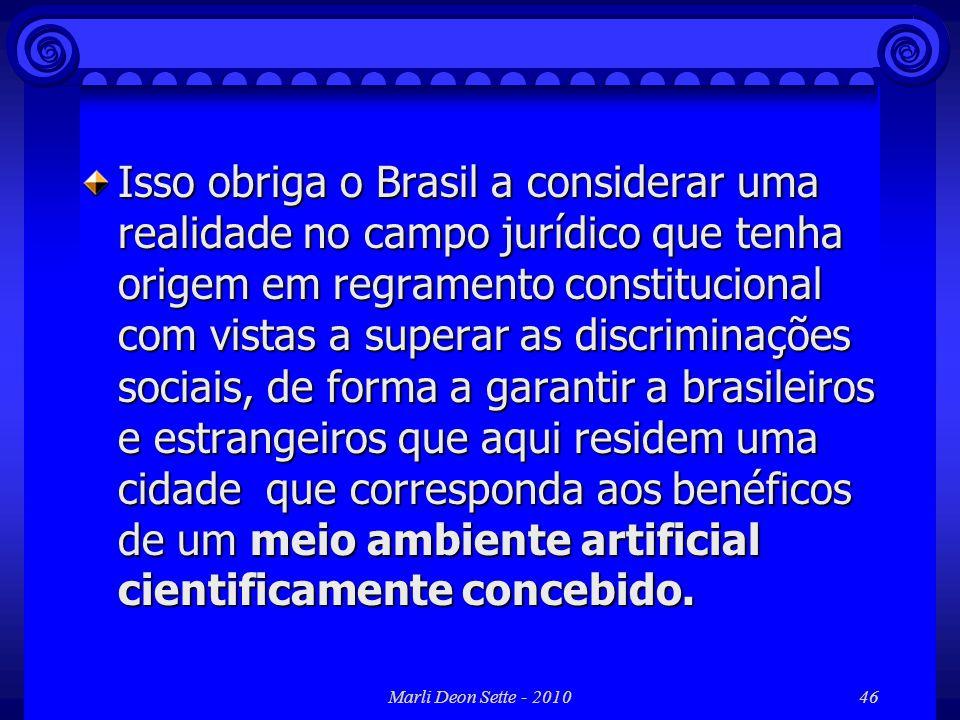 Isso obriga o Brasil a considerar uma realidade no campo jurídico que tenha origem em regramento constitucional com vistas a superar as discriminações sociais, de forma a garantir a brasileiros e estrangeiros que aqui residem uma cidade que corresponda aos benéficos de um meio ambiente artificial cientificamente concebido.