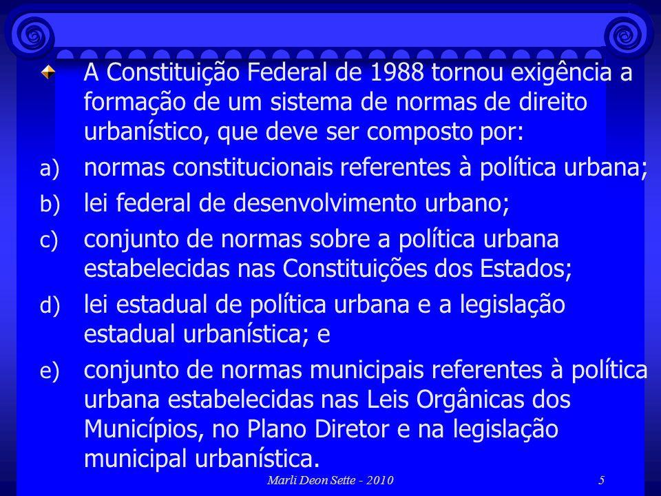 normas constitucionais referentes à política urbana;