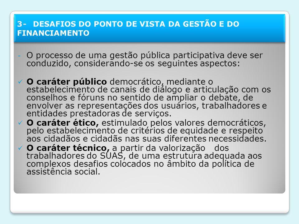 3- DESAFIOS DO PONTO DE VISTA DA GESTÃO E DO FINANCIAMENTO