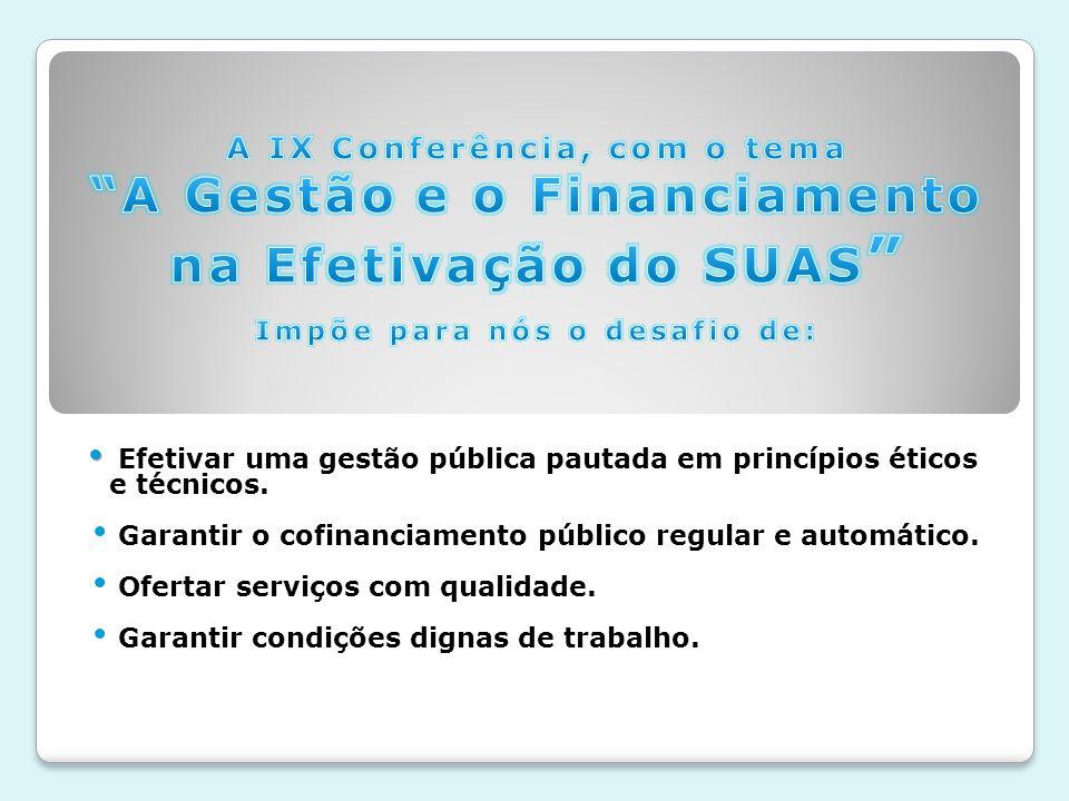 A IX Conferência, com o tema A Gestão e o Financiamento na Efetivação do SUAS Impõe para nós o desafio de: