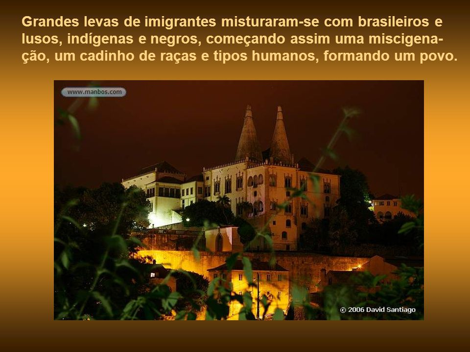 Grandes levas de imigrantes misturaram-se com brasileiros e lusos, indígenas e negros, começando assim uma miscigena-ção, um cadinho de raças e tipos humanos, formando um povo.