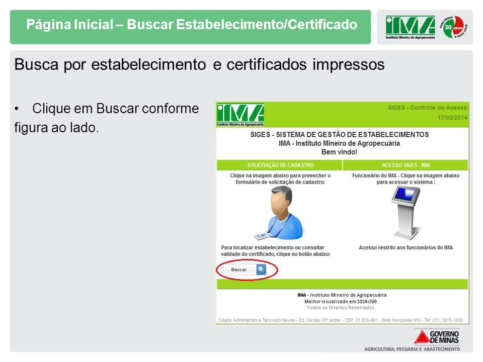 Página Inicial – Buscar Estabelecimento/Certificado