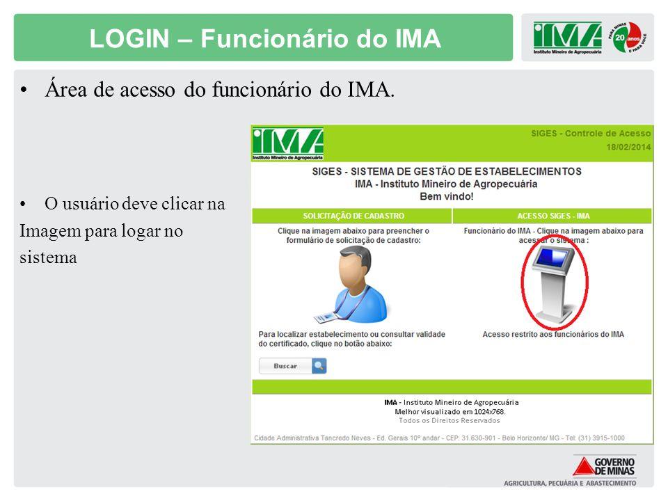 LOGIN – Funcionário do IMA