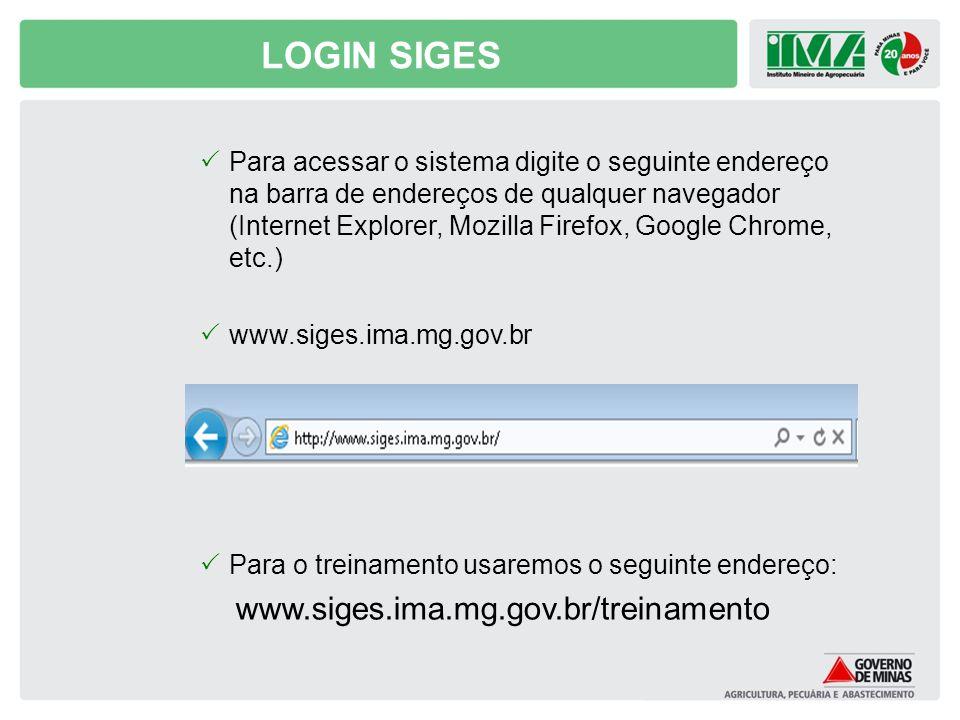 LOGIN SIGES www.siges.ima.mg.gov.br/treinamento