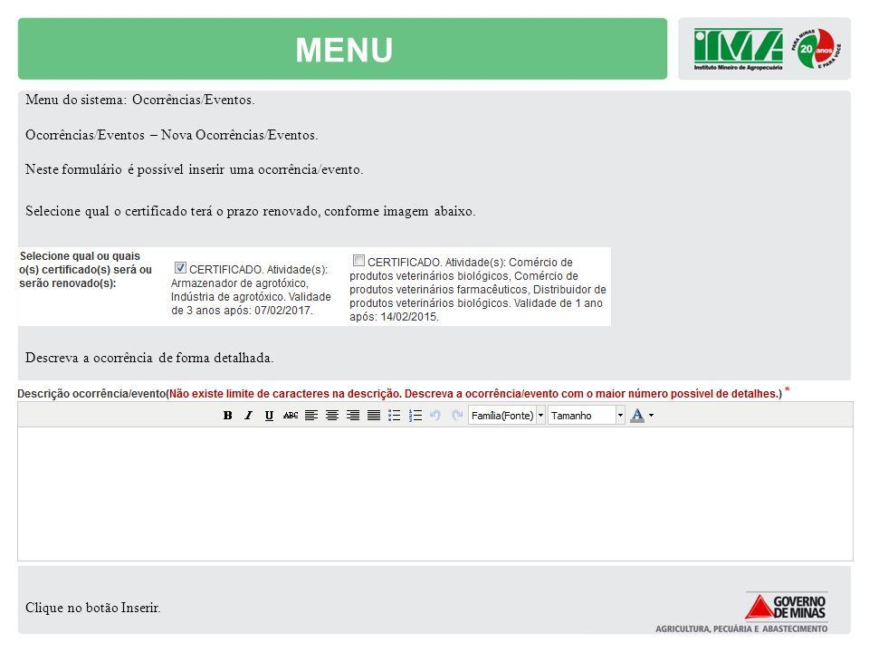 MENU Menu do sistema: Ocorrências/Eventos.
