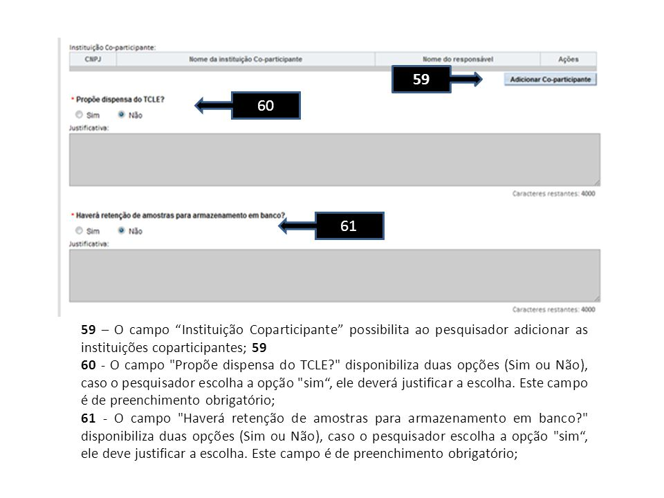 59 60. 61. 59 – O campo Instituição Coparticipante possibilita ao pesquisador adicionar as instituições coparticipantes; 59.