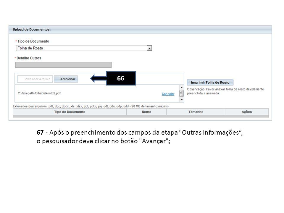 66 67 - Após o preenchimento dos campos da etapa Outras Informações , o pesquisador deve clicar no botão Avançar ;