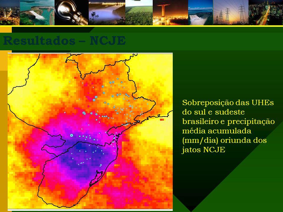 Resultados – NCJE Sobreposição das UHEs do sul e sudeste brasileiro e precipitação média acumulada (mm/dia) oriunda dos jatos NCJE.