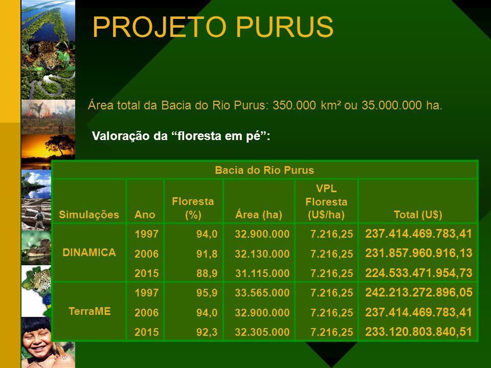 PROJETO PURUS Área total da Bacia do Rio Purus: 350.000 km² ou 35.000.000 ha. Valoração da floresta em pé :