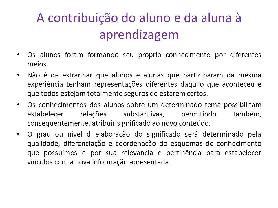 A contribuição do aluno e da aluna à aprendizagem