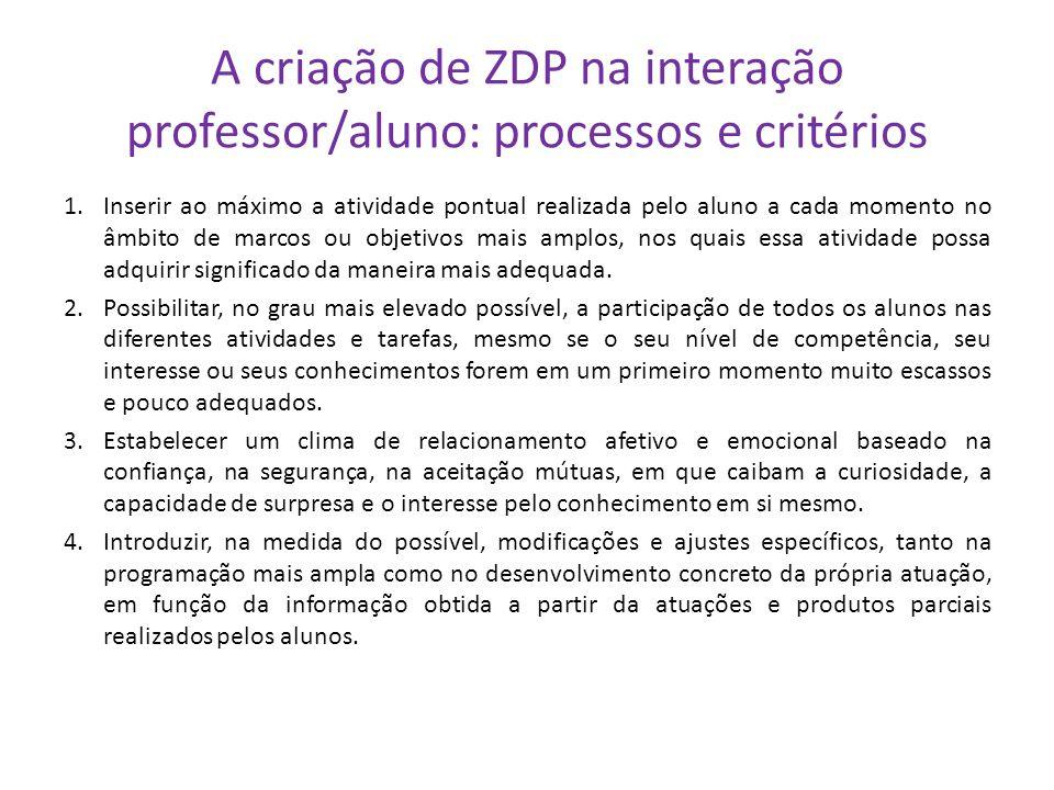 A criação de ZDP na interação professor/aluno: processos e critérios