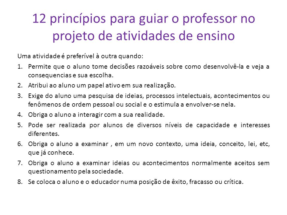 12 princípios para guiar o professor no projeto de atividades de ensino