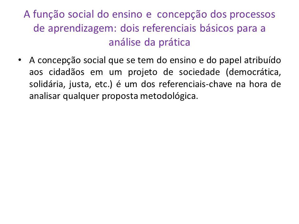 A função social do ensino e concepção dos processos de aprendizagem: dois referenciais básicos para a análise da prática