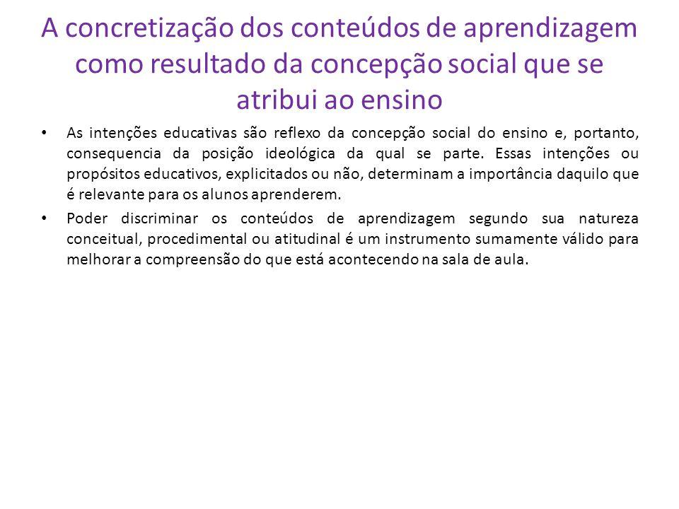 A concretização dos conteúdos de aprendizagem como resultado da concepção social que se atribui ao ensino