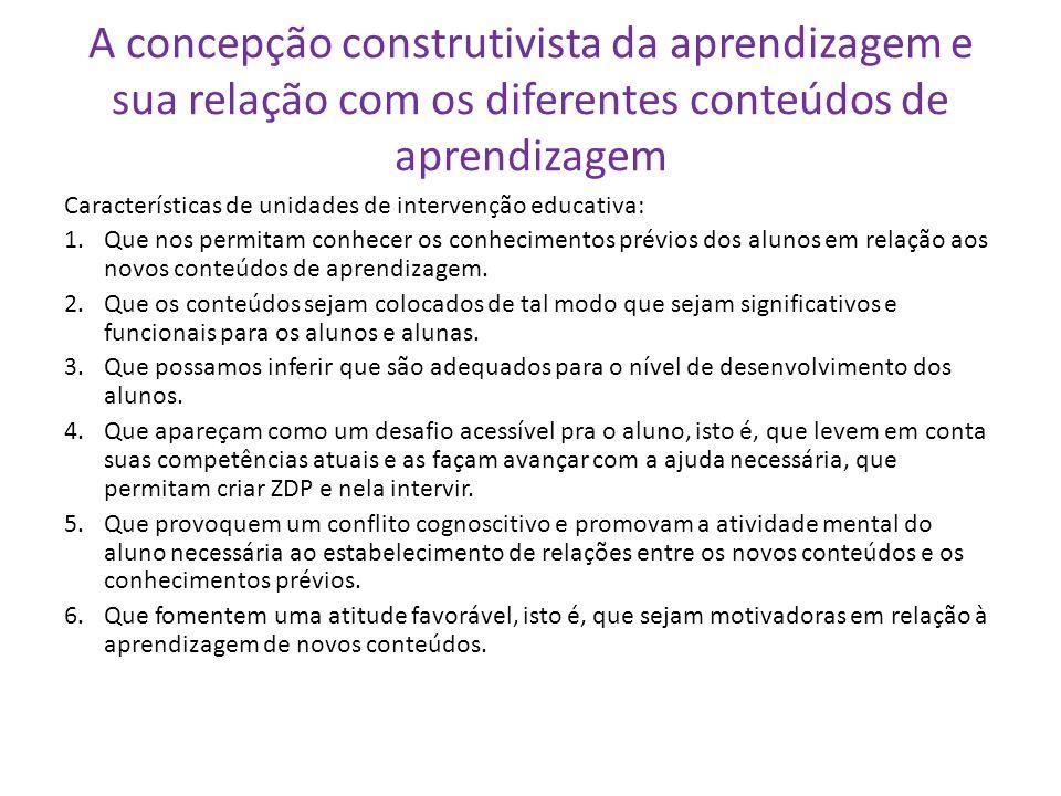 A concepção construtivista da aprendizagem e sua relação com os diferentes conteúdos de aprendizagem