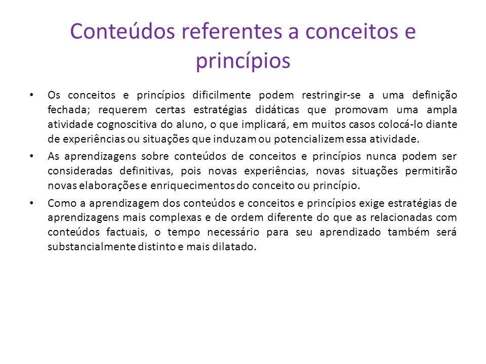 Conteúdos referentes a conceitos e princípios