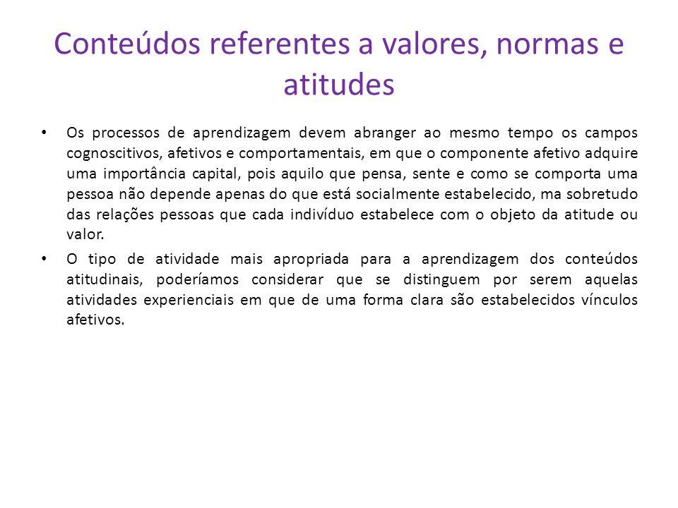 Conteúdos referentes a valores, normas e atitudes