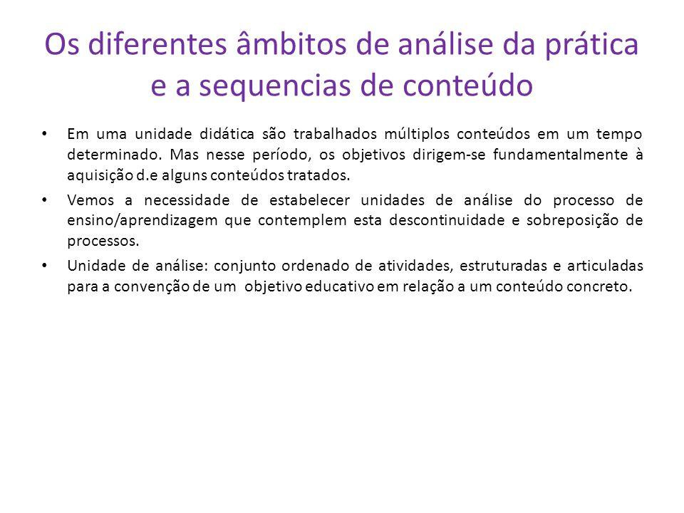 Os diferentes âmbitos de análise da prática e a sequencias de conteúdo