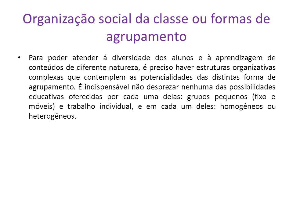 Organização social da classe ou formas de agrupamento