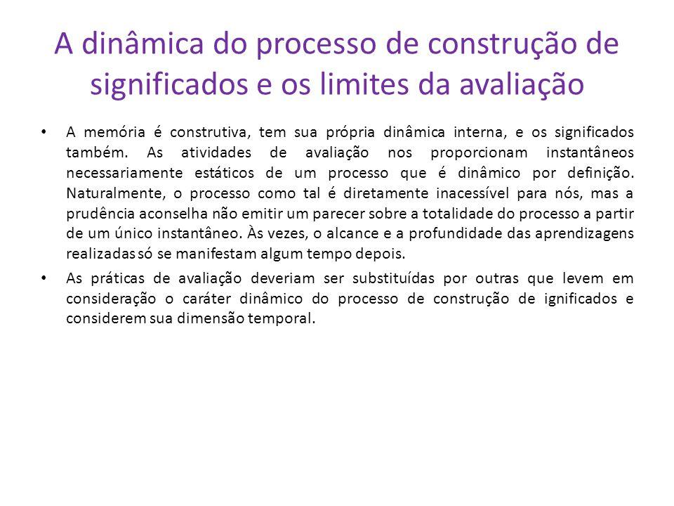 A dinâmica do processo de construção de significados e os limites da avaliação