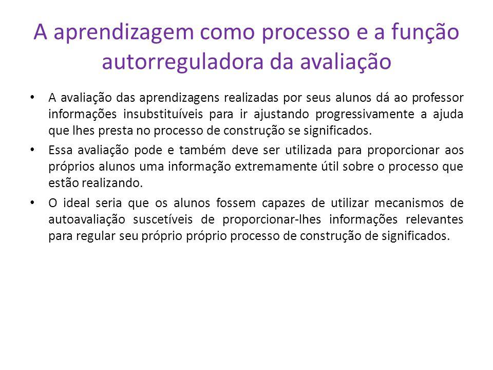 A aprendizagem como processo e a função autorreguladora da avaliação