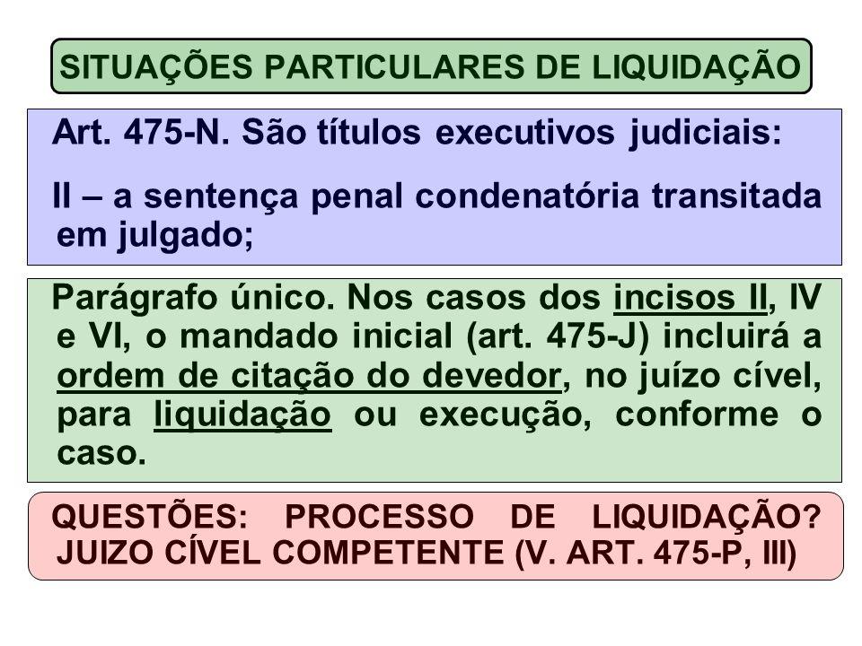 Art. 475-N. São títulos executivos judiciais: