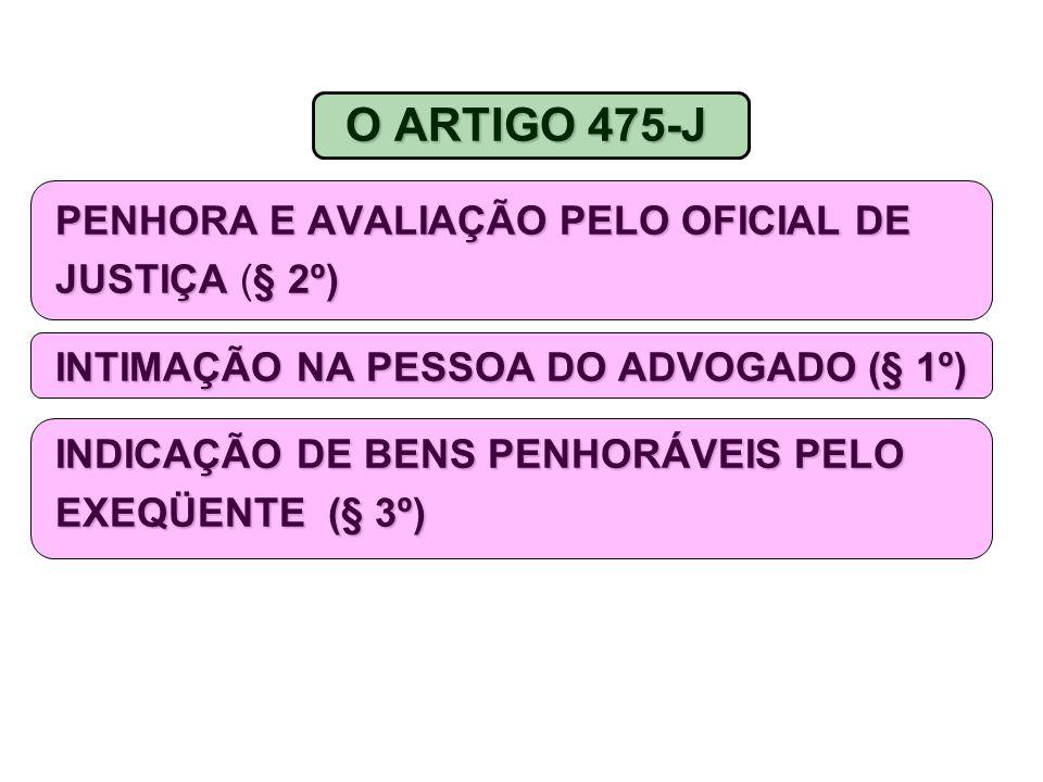 O ARTIGO 475-J PENHORA E AVALIAÇÃO PELO OFICIAL DE JUSTIÇA (§ 2º)