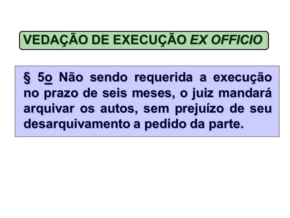 VEDAÇÃO DE EXECUÇÃO EX OFFICIO