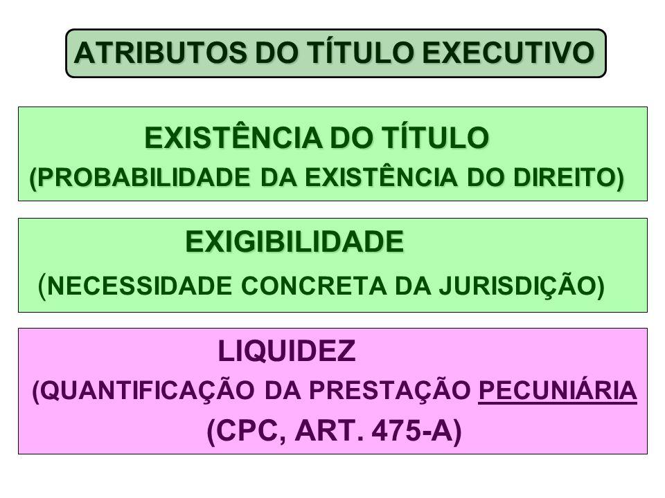ATRIBUTOS DO TÍTULO EXECUTIVO (QUANTIFICAÇÃO DA PRESTAÇÃO PECUNIÁRIA
