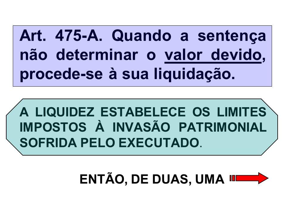 Art. 475-A. Quando a sentença não determinar o valor devido, procede-se à sua liquidação.