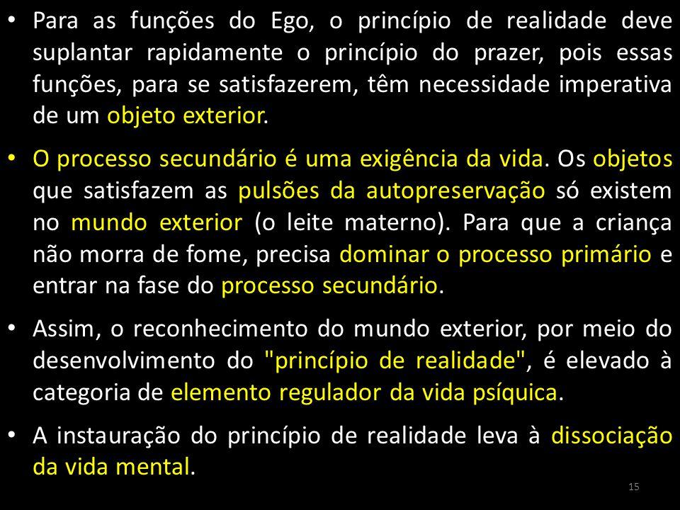 Para as funções do Ego, o princípio de realidade deve suplantar rapidamente o princípio do prazer, pois essas funções, para se satisfazerem, têm necessidade imperativa de um objeto exterior.