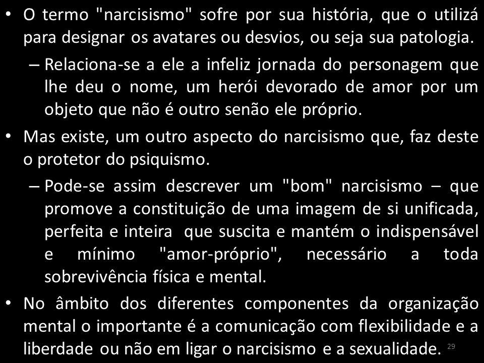 O termo narcisismo sofre por sua história, que o utilizá para designar os avatares ou desvios, ou seja sua patologia.