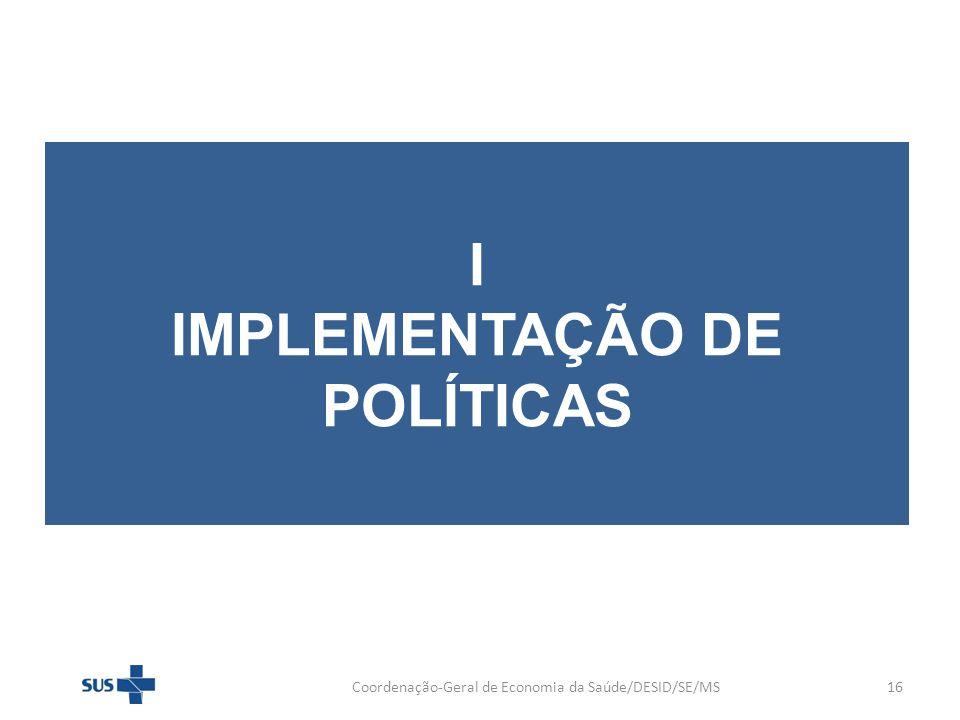 I IMPLEMENTAÇÃO DE POLÍTICAS