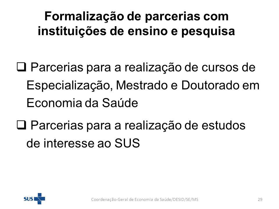 Formalização de parcerias com instituições de ensino e pesquisa