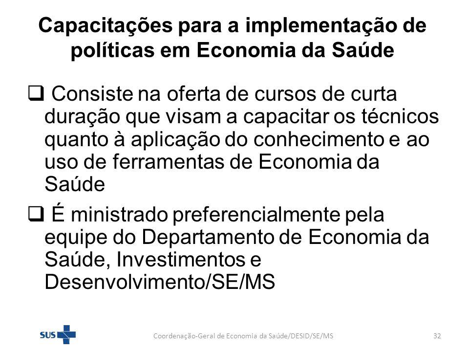 Capacitações para a implementação de políticas em Economia da Saúde