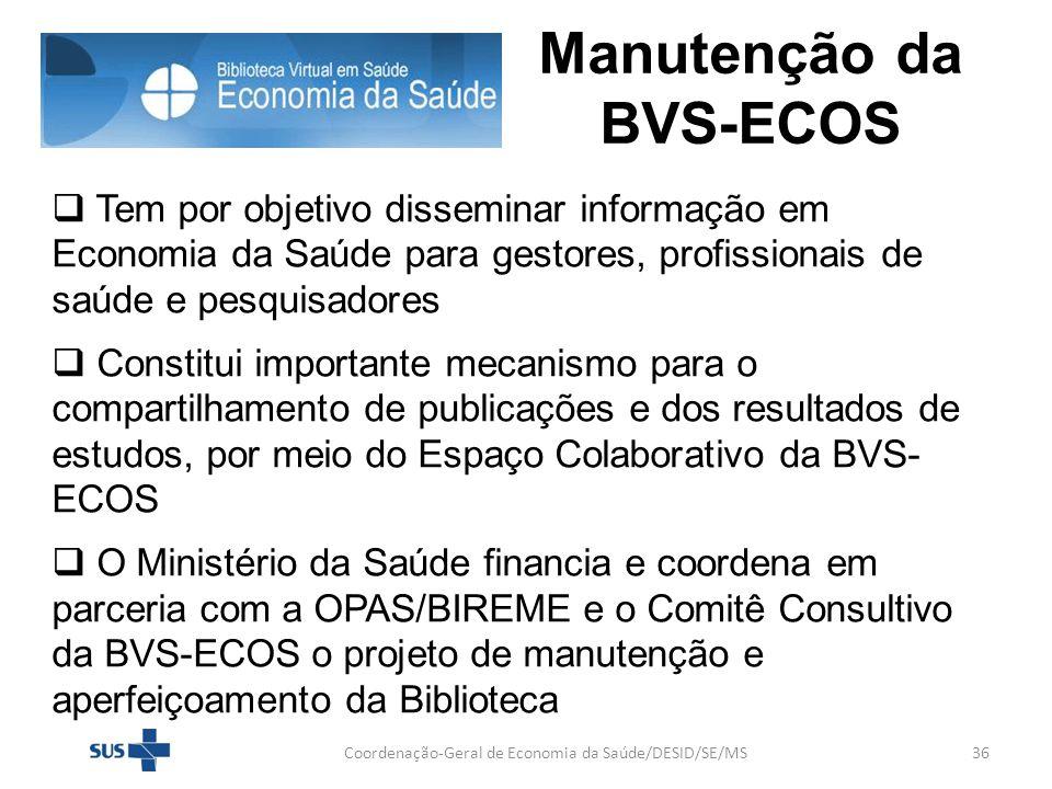 Manutenção da BVS-ECOS