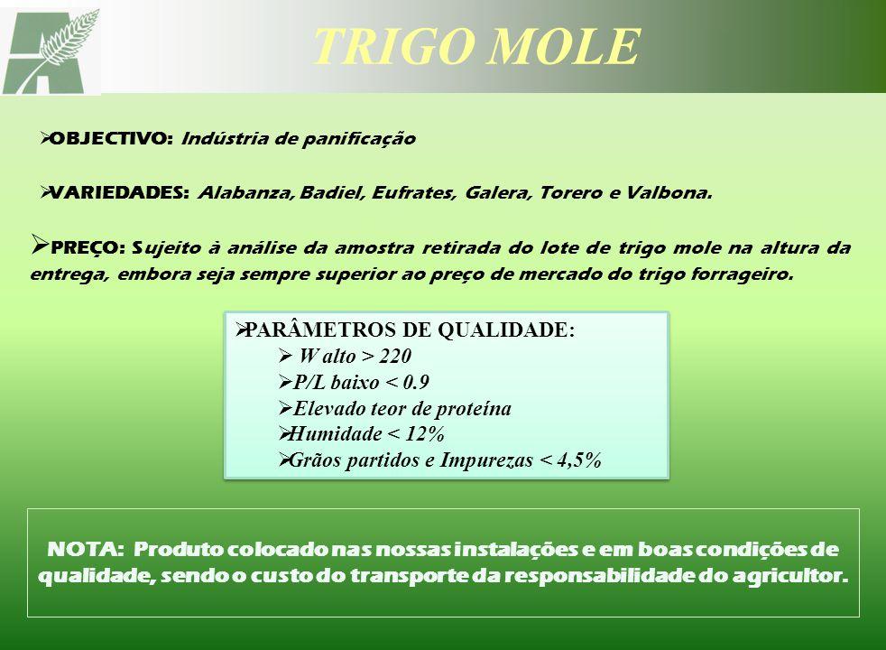 TRIGO MOLE OBJECTIVO: Indústria de panificação. VARIEDADES: Alabanza, Badiel, Eufrates, Galera, Torero e Valbona.