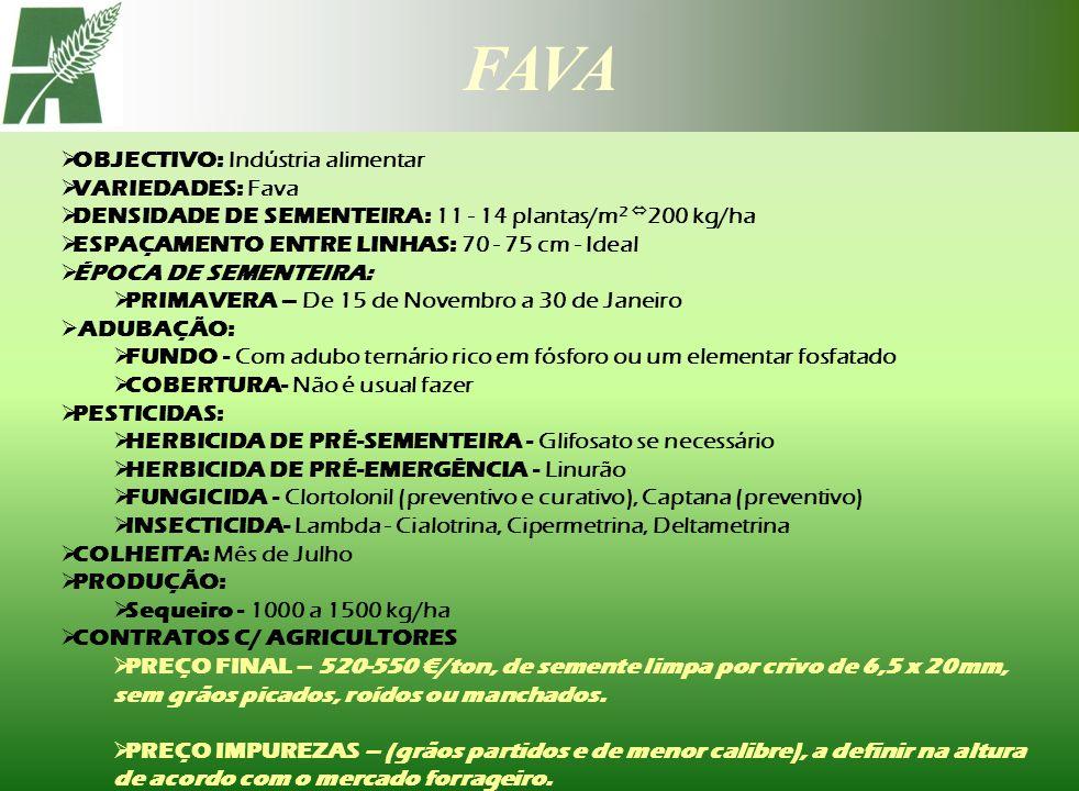 FAVA OBJECTIVO: Indústria alimentar VARIEDADES: Fava