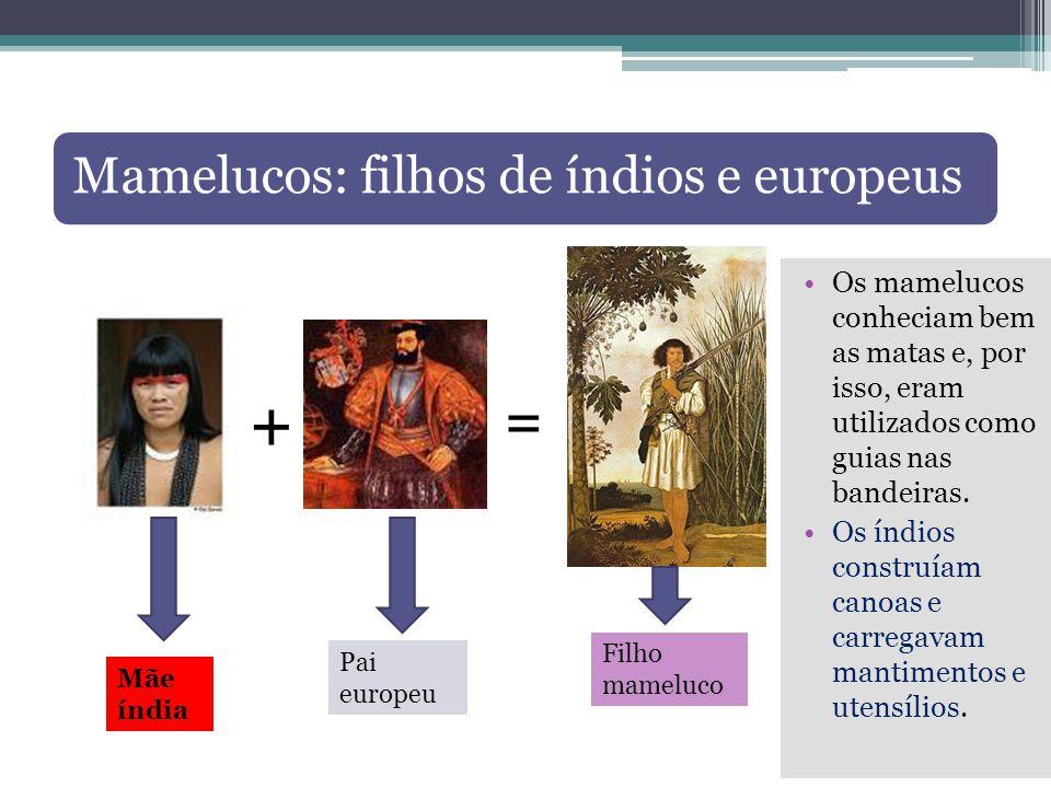 + = Mamelucos: filhos de índios e europeus