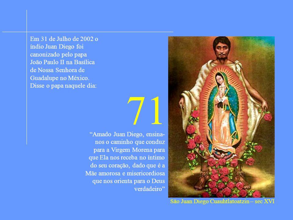 Em 31 de Julho de 2002 o índio Juan Diego foi canonizado pelo papa João Paulo II na Basílica de Nossa Senhora de Guadalupe no México. Disse o papa naquele dia: