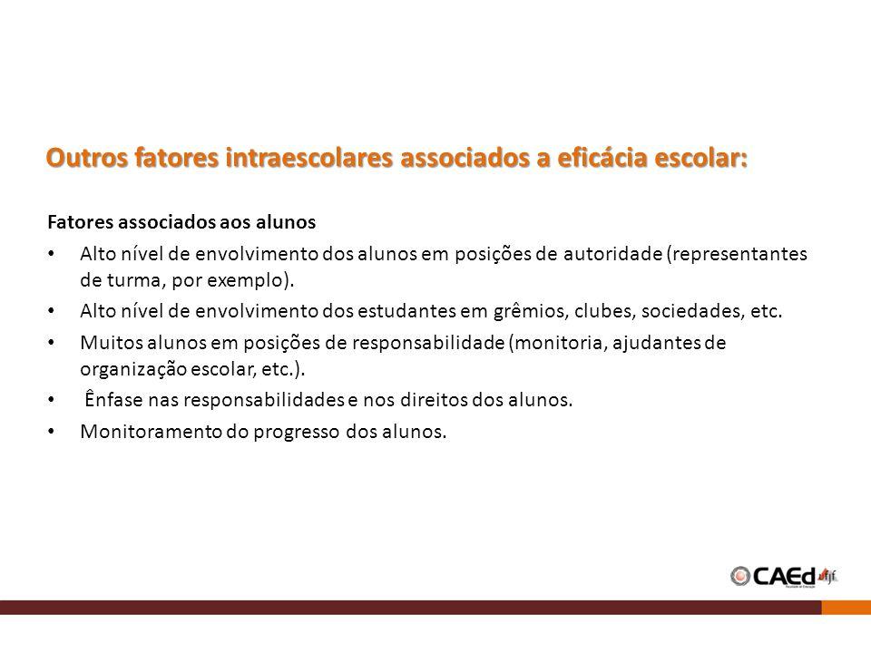 Outros fatores intraescolares associados a eficácia escolar:
