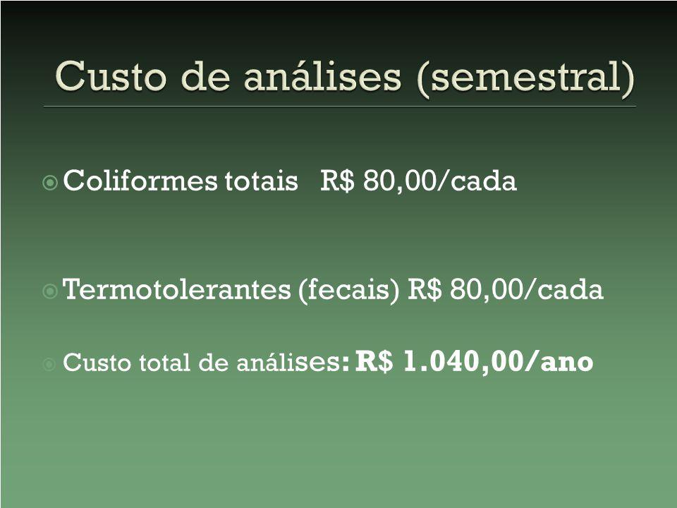 Custo de análises (semestral)
