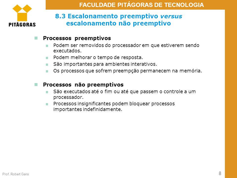 8.3 Escalonamento preemptivo versus escalonamento não preemptivo