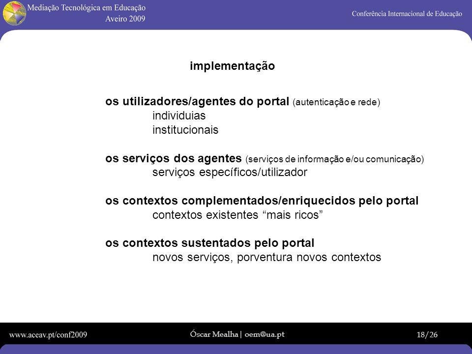 implementação os utilizadores/agentes do portal (autenticação e rede) individuias. institucionais.