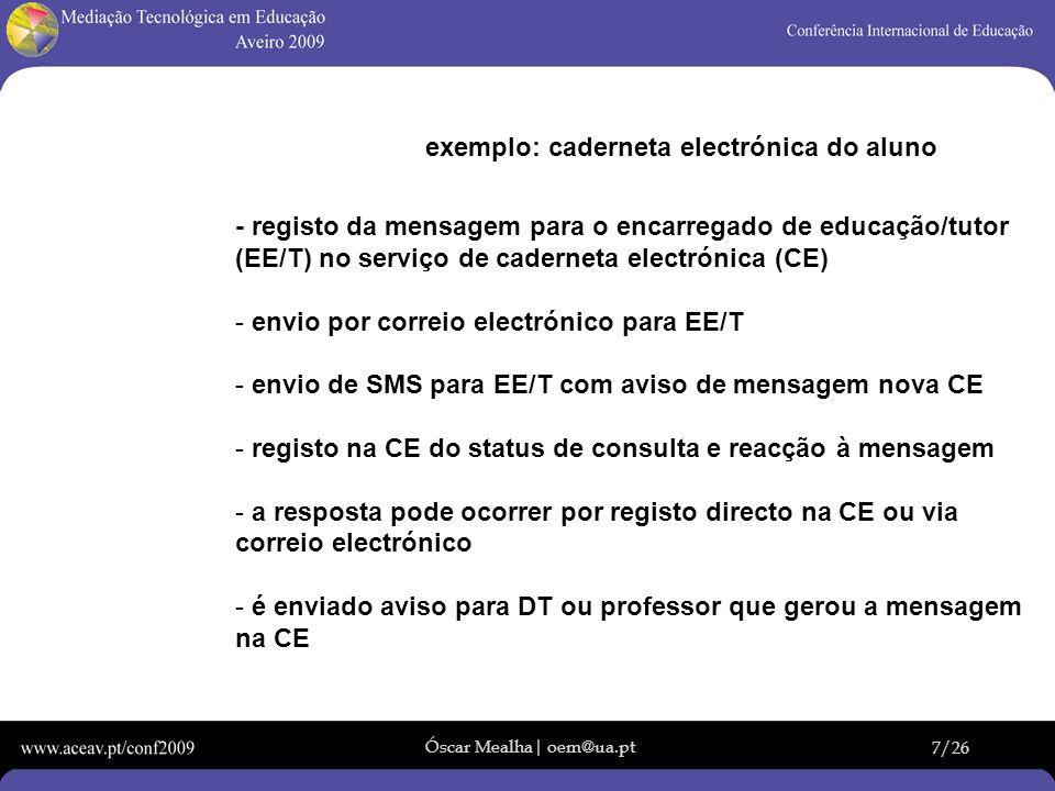 exemplo: caderneta electrónica do aluno