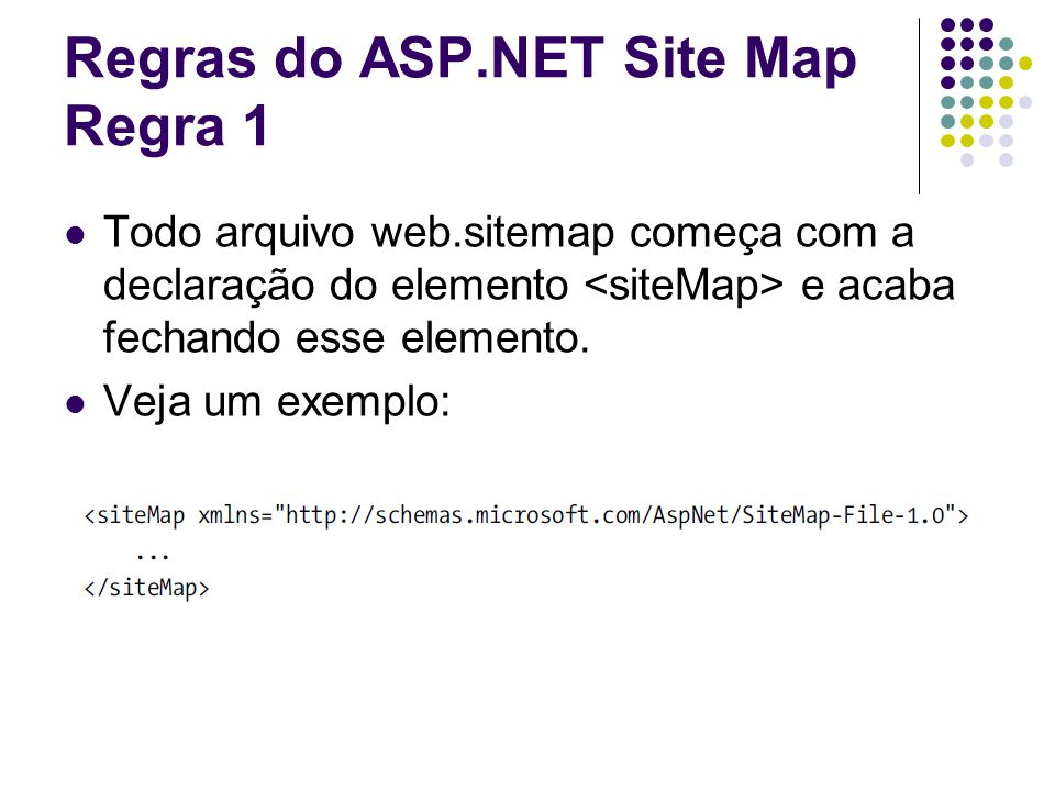 Regras do ASP.NET Site Map Regra 1