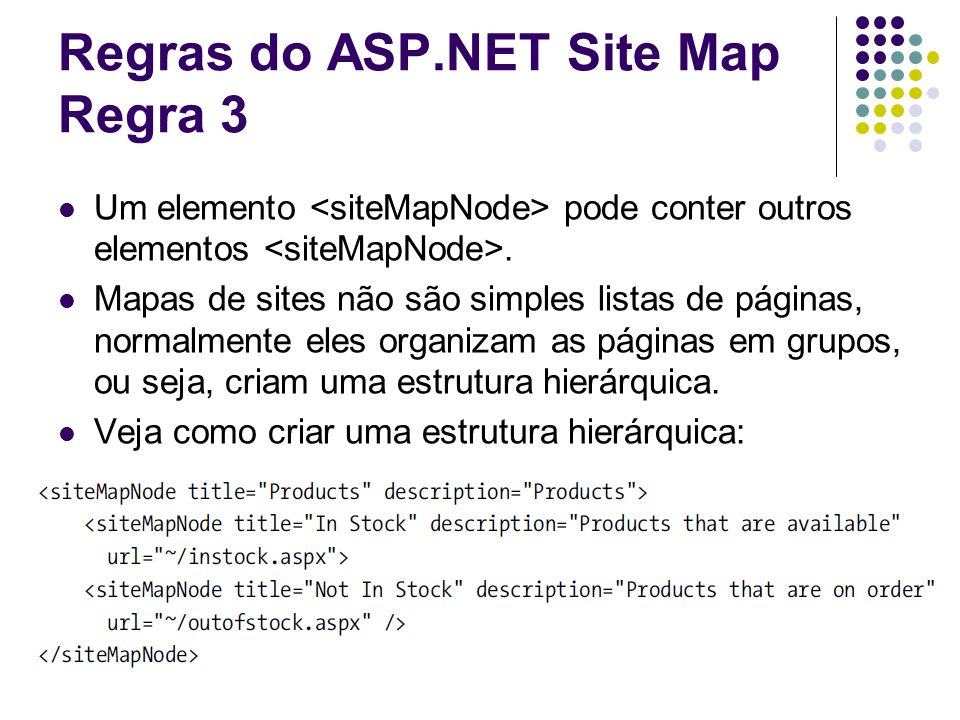 Regras do ASP.NET Site Map Regra 3